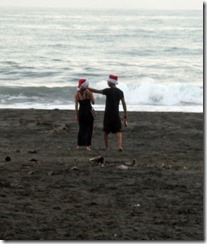 Santas on the beach