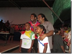 Dave Myrie with kids